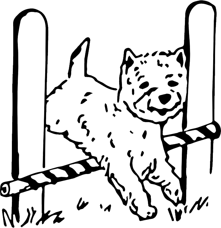 Bella Vista Training Center logo of dog jumping over hurdle